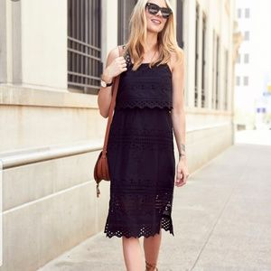 J. Crew Tiered Eyelet Sleeveless Midi Dress